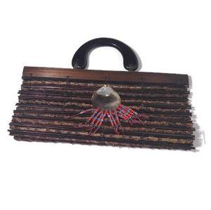 Boho wooden purse with albolene shell clutch